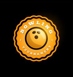 bowling orange circular logo modern professional vector image