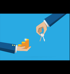 Business hand holding key and coins stack vector