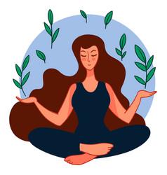 calm female character doing yoga sitting in asana vector image