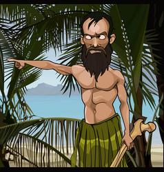 Cartoon angry bearded man on a tropical island vector