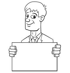 Cartoon businessman with card vector