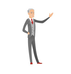 Caucasian businessman with outstretched hand vector