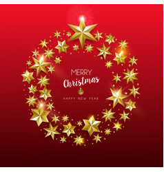 christmas and new year gold star holiday wreath vector image