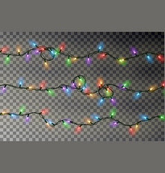 Christmas color lights string realistic xm vector