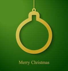 Christmas gold ball applique on green background vector image