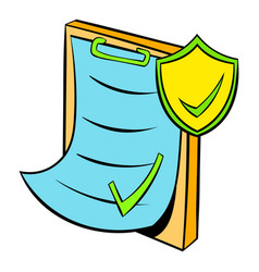 clipboard with insurance form icon cartoon vector image