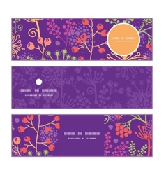 colorful garden plants horizontal banners set vector image