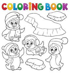 coloring book happy winter penguins vector image