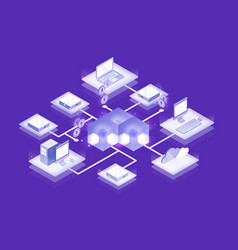 computers and servers connected into blockchain vector image