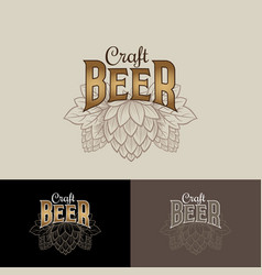 craft beer logo hop cone brewing beer pub vector image