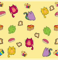 cute cat seamless pattern with cake and rainbow vector image