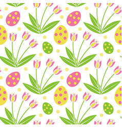 cute easter seamless pattern spring repeating vector image