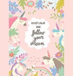 Cute magic frame composed of unicorns and flowers vector