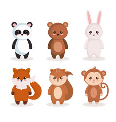 Cute set animals characters vector