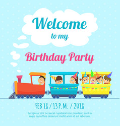 Design template of poster for kids party vector