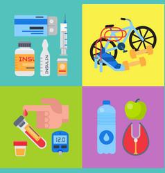 Diabetes mellitus care banner set vector
