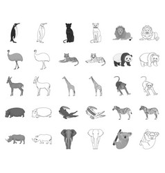 Different animals monochromeoutline icons in set vector