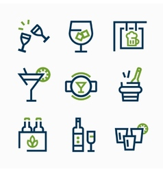different kind drink icons icon set vector image