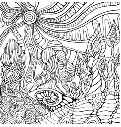 doodle surreal landscape coloring page for adults vector image
