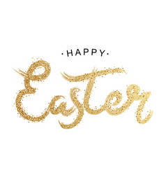 easter gold lettering golden text with sparkles vector image