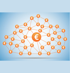 euro money cloud with shadow on light background vector image