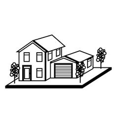 exterior cute house icon vector image