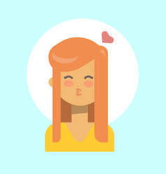 female blow kiss emotion profile icon woman vector image