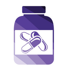 fitness pills in container icon vector image