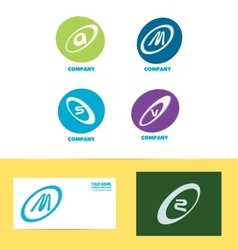Flat letter set icon colors vector image