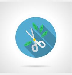 Garden scissors flat round icon vector