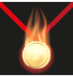 Gold medal with flame vector image