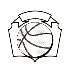 Gray scale emblem with basketball ball vector