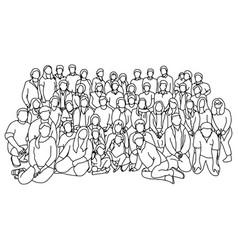 group people together sketch vector image