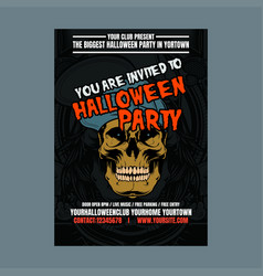halloween party night vertical background with vector image