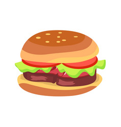 Hamburger with fresh tomatoes and lettuce leaf vector