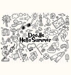 Hand drawn set summer doodles elements vector