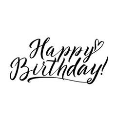 Happy birthday calligraphy greeting card hand vector