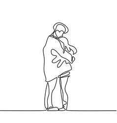 Happy couple warms in their arms under boys coat vector