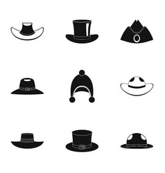 Hat icon set simple style vector