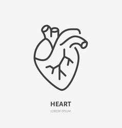 heart flat line icon thin pictogram of vector image