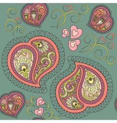 heart paisley seamless pattern vector image