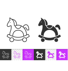 horse rocking simple black line icon vector image