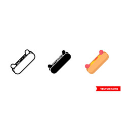 hot dog icon 3 types isolated sign vector image
