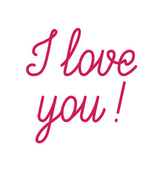 i love you red lettering vector image