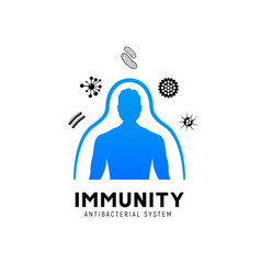 Immune system icon logo health bacteria vector