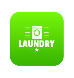 Laundry icon green vector