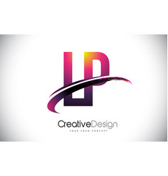 Lp l p purple letter logo with swoosh design vector
