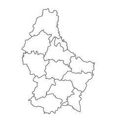 luxembourg map of black contour curves vector image