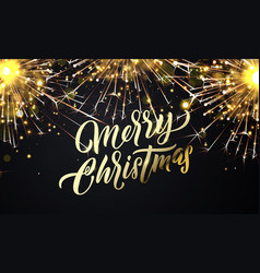 merry christmas golden firework light sparkles vector image