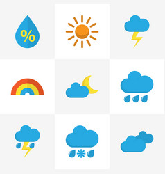 Meteorology flat icons set collection of overcast vector